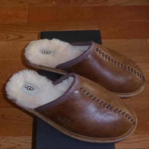 ed83745d848 UGG Men Deco Scuff Leather Sheepskin Slippers NIB NWT
